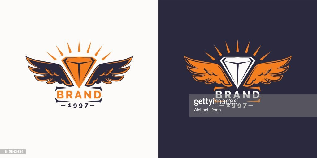 The logo and the wings emblem. Template for your brand and company