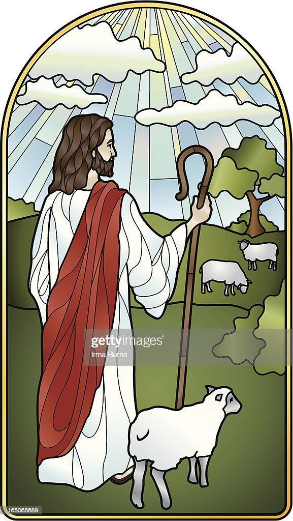 The Lord is My Shepherd Stained Glass : stock illustration