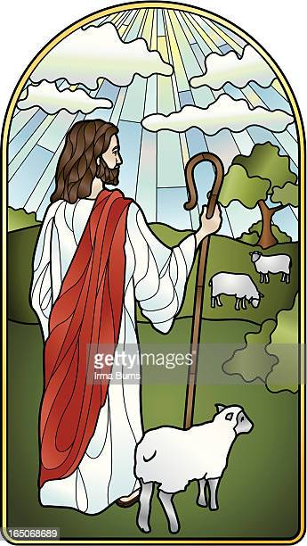 the lord is my shepherd stained glass - jesus stock illustrations, clip art, cartoons, & icons