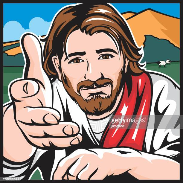 the lord is my shepherd - jesus stock illustrations, clip art, cartoons, & icons