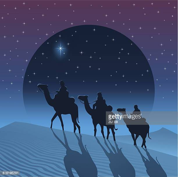 the magi from the east follow the star of bethlehem - three wise men stock illustrations, clip art, cartoons, & icons
