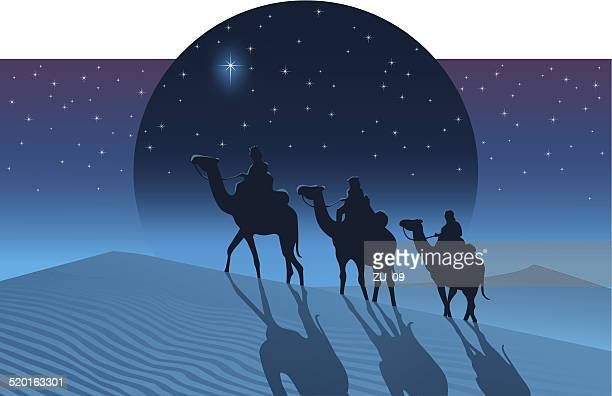 the magi from the east follow the star of bethlehem - three people stock illustrations