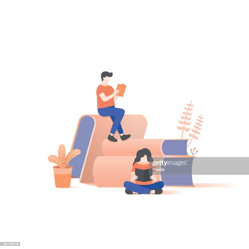 the man and woman reading on book pile illustration vector on white background.