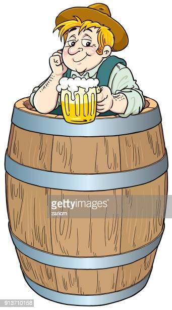 the man in the barrel drinks beer - lager stock illustrations, clip art, cartoons, & icons