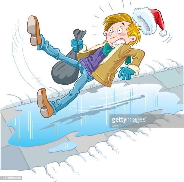 stockillustraties, clipart, cartoons en iconen met de man die gleed op het ijs, valt - glad