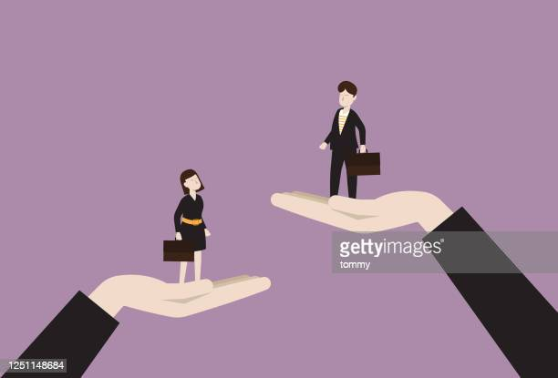 the manager raises a businessman higher than a businesswoman - social justice concept stock illustrations