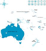 The map of Australia and Oceania