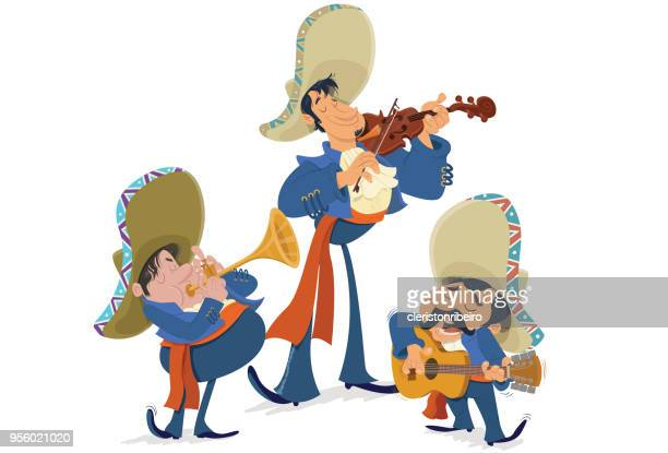 los mariachis - mariachi stock illustrations