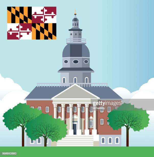 the maryland state house in annapolis - annapolis stock illustrations