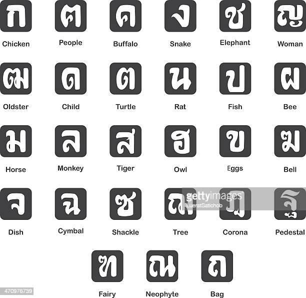 die bedeutung der thailändischen schrift silhouette set 1 - corona sun stock-grafiken, -clipart, -cartoons und -symbole