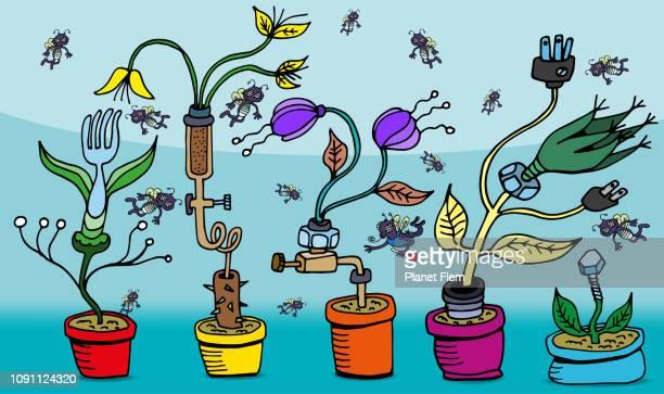 stockillustraties, clipart, cartoons en iconen met het mechnical tuin experiment - geval