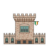The Medieval Tower of Dublin Castle. Irish fortress vector illustration in flat color line style. Stronghold in the capital of Ireland - top rated attraction image in colorful outline design.