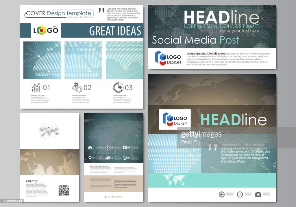 The minimalistic abstract vector illustration of the editable layout of modern social media post design templates in popular formats. Chemistry pattern with molecule structure. Medical DNA research