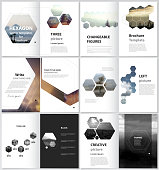 The minimalistic vector illustration of the editable layout of A4 format modern covers design templates for brochure, magazine, flyer, booklet, report. Abstract polygonal modern style with hexagons