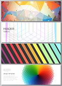 The minimalistic vector illustration of the editable layout of headers, banner design templates in popular formats. Abstract colorful geometric backgrounds in minimalistic design to choose from.