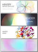 The minimalistic vector illustration of the editable layout of headers, banner design templates in popular formats. Abstract colorful geometric backgrounds in minimalistic design to choose from