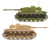 The modern army military heavy American tank in flat style a vector. In desert and summer a camouflage.Armored Corps.