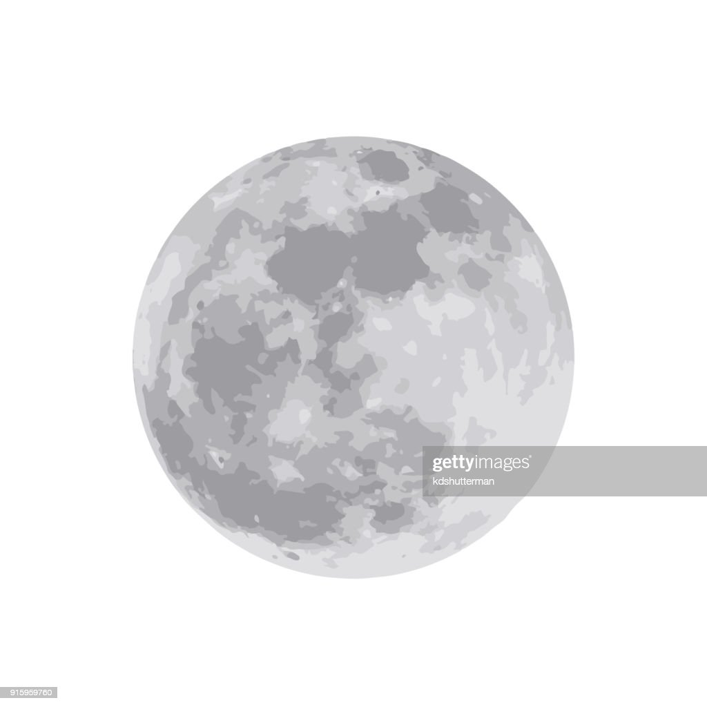 The moon isolated on white background. Vector illustration. EPS 10