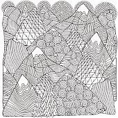 The mountains. Adult coloring book page.