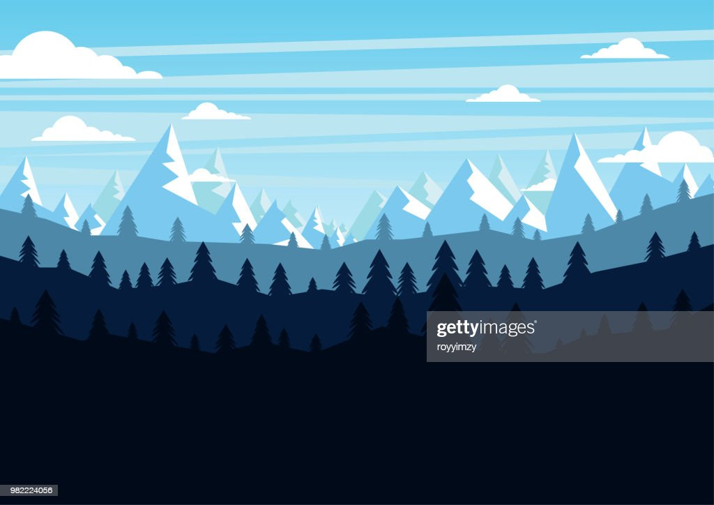 The Mountains and forest landscape early in a daylight background. Vector illustration.