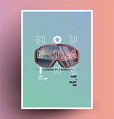 The mountains are calling. Minimalist styled snowboarding themed poster flyer.