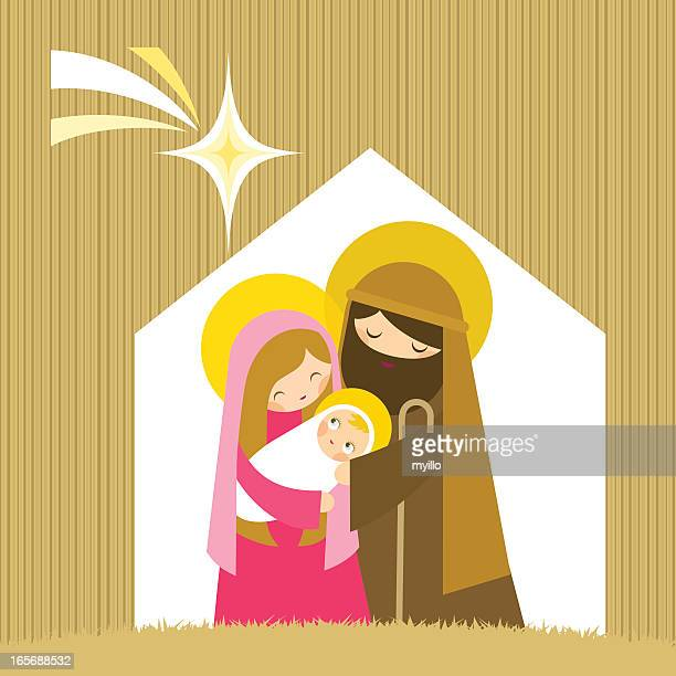 the nativity - smiling jesus stock illustrations