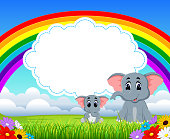 the nature blue sky view with the cloud board blank space and two elephant