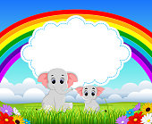 the nature blue sky view with the cloud board blank space and two elephant with the different size