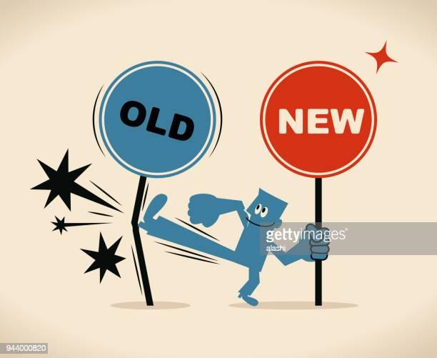 ilustrações, clipart, desenhos animados e ícones de o novo e o velho caminho, sorrindo empresário segurando a placa nova e chutando o velho sinal - reforma assunto
