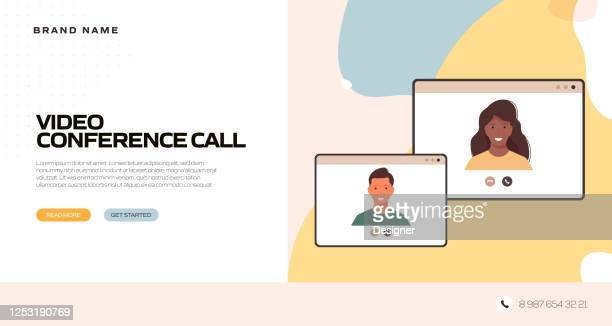 the new normal concept - video conference vector illustration - landing page stock illustrations