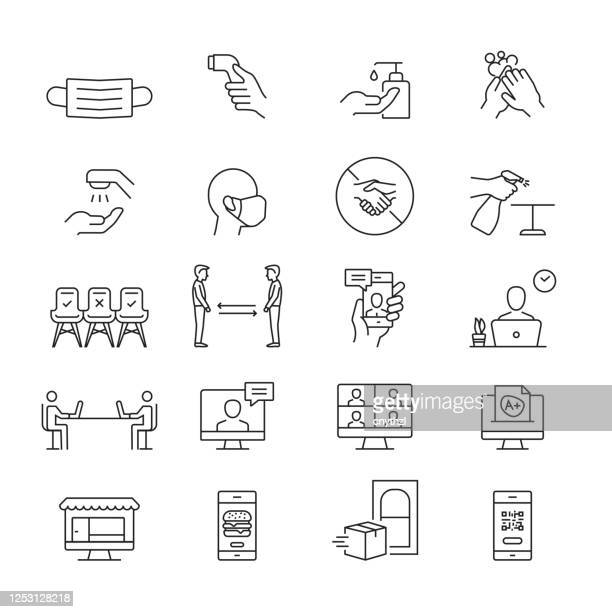 the new normal icons. outline symbol icons - office stock illustrations