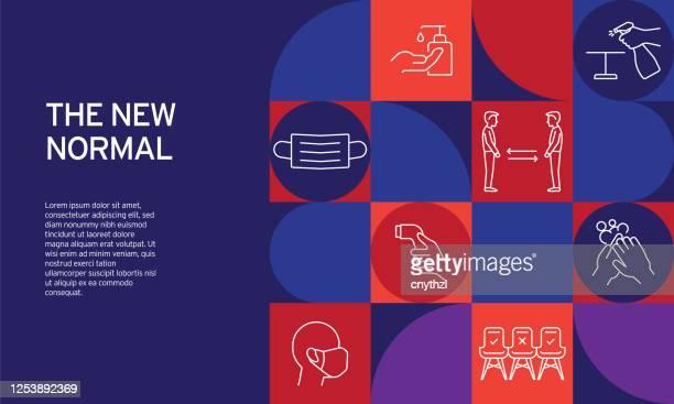 illustrations, cliparts, dessins animés et icônes de la nouvelle conception liée normale avec des icônes de ligne. icônes de symbole de contour simple. - bureau lieu de travail