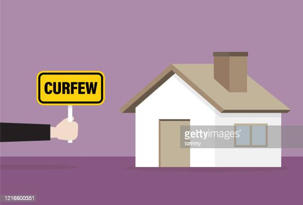 the officer shows a curfew sign at the house - curfew stock illustrations