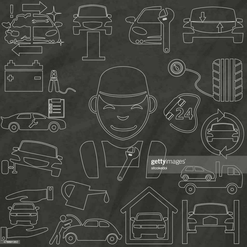 the outline icons about a auto repair and garage