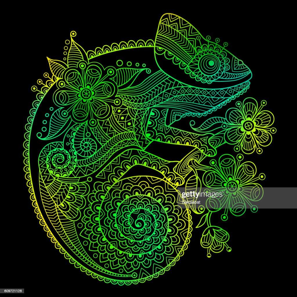 The outline vector illustration of a green chameleon on black