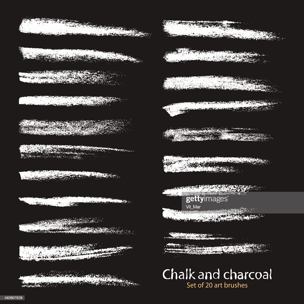 The palette of brushes chalk and charcoal.