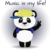 The panda musician in the baseball cap and headphones stands with a raised hand, in the style of cartoons