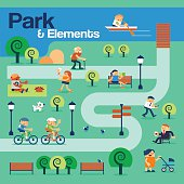 The Park and Elements with Peoples.