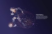 The particles and line dot of football player motion.