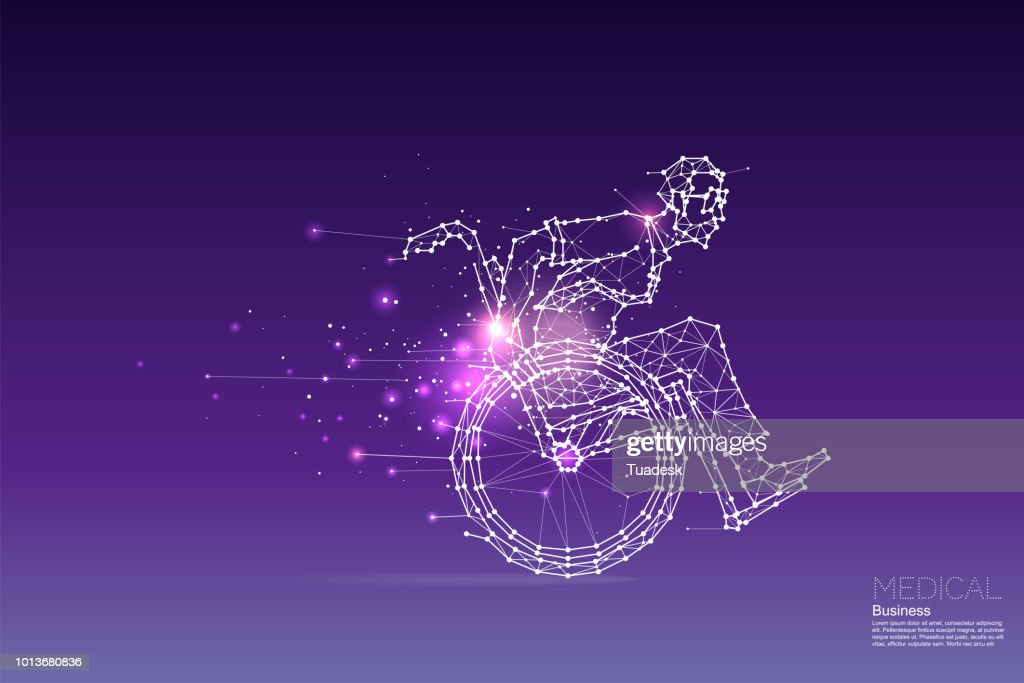The particles, geometric art, line and dot of business man on wheelchair. : stock illustration