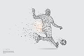 The particles, geometric art, line and dot of football player shooting.