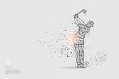 The particles, geometric art, line and dot of golf player action.
