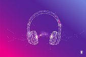 The particles, geometric art, line and dot of Headphone.