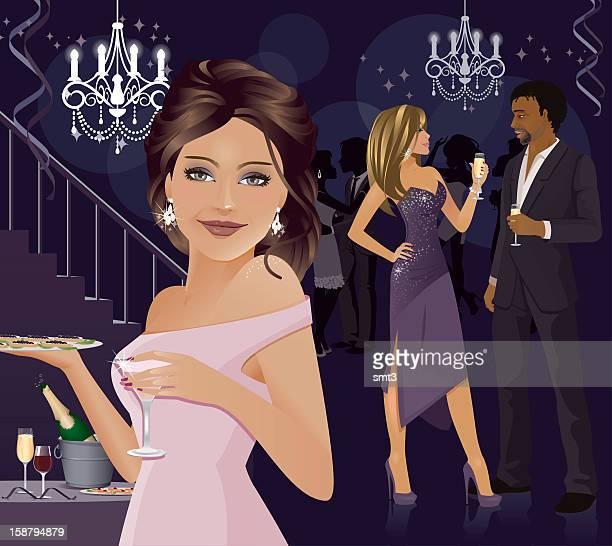 the party hostess - flirting stock illustrations, clip art, cartoons, & icons