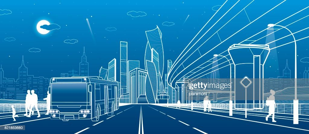 The passengers left bus. Transportation bridge. Wide highway. Urban infrastructure, modern city on background, industrial architecture. People walking. White lines, night scene, vector design art