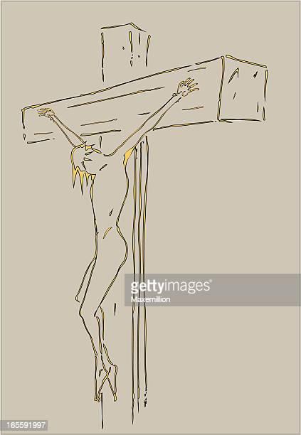 ilustraciones, imágenes clip art, dibujos animados e iconos de stock de la pasión. crucifixion de jesus - corona de espinas