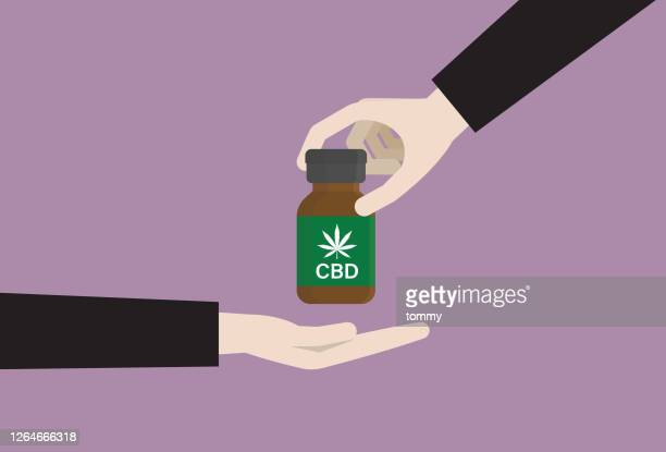the patient uses cbd oil for alternative healthcare - cbd oil stock illustrations
