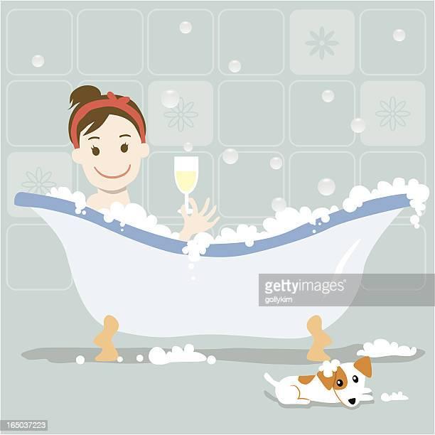 ilustraciones, imágenes clip art, dibujos animados e iconos de stock de el mejor baño de burbujas - bañera con patas