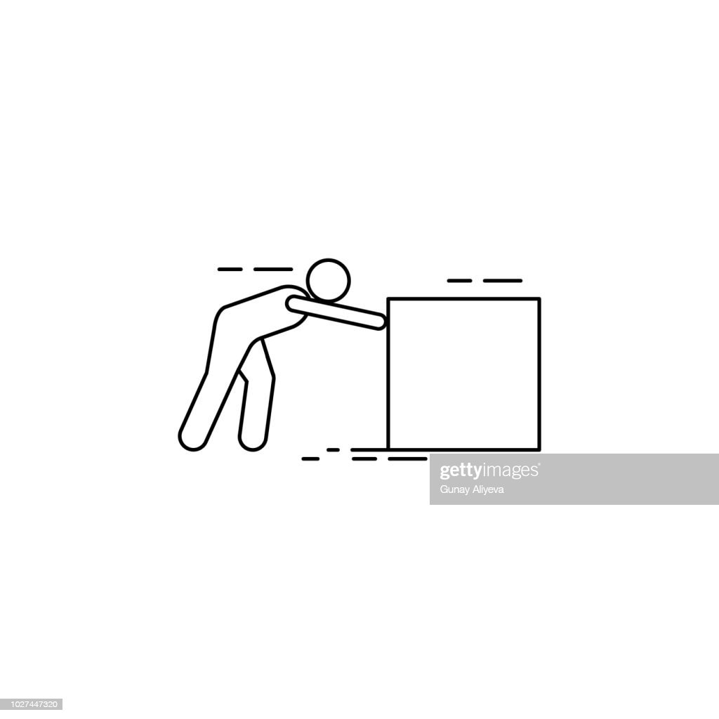 the person pushes the box hard icon. Element of man carries a box illustration. Premium quality graphic design icon. Signs and symbols collection icon for websites