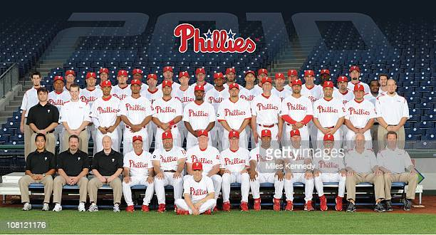 The Philadelphia Phillies pose for a team picture at Citizens Bank Park in Philadelphia Pennsylvania in August 2010Back Row Kyle Kendrick Cole Hamels...